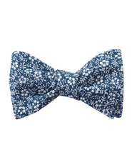 Load image into Gallery viewer, blue orchid floral self-tie bow tie, tied view