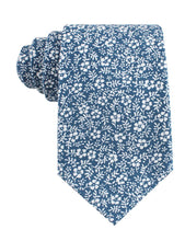 Load image into Gallery viewer, Blue and white floral neck tie, front view