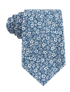 Blue and white floral neck tie, front view