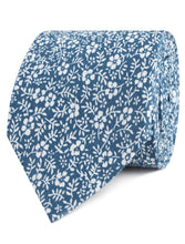 Load image into Gallery viewer, Blue and white floral neck tie, rolled view
