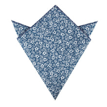 Load image into Gallery viewer, blue and white floral pocket square, folded view