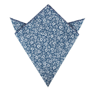 blue and white floral pocket square, folded view