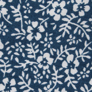 blue and white floral pocket square, fabric view