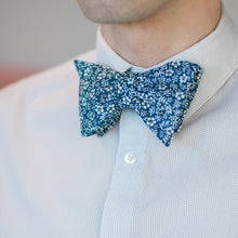 Load image into Gallery viewer, Blue and white floral bow tie with micro-dot white button-down shirt