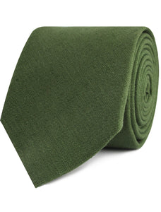 Nature's Harmony - green linen necktie rolled view
