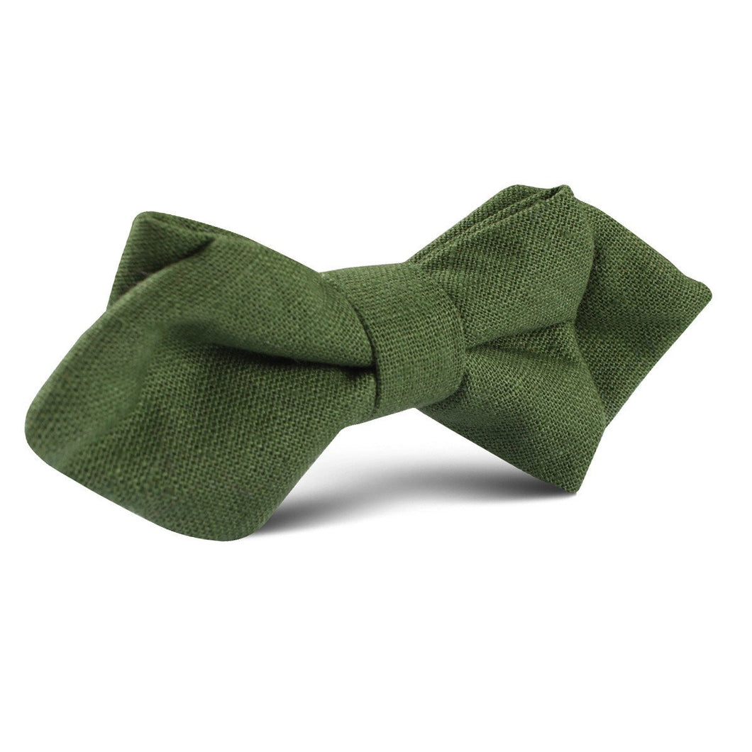 Nature's harmony - hunter green linen bow tie pre-tied