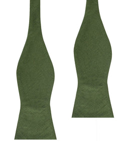 Nature's Harmony - Hunter green linen bow tie - self-tie