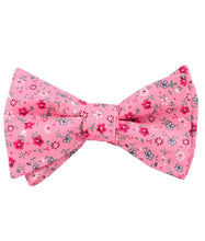Load image into Gallery viewer, Pink Floral Bow Tie with Red Flowers, Tied View