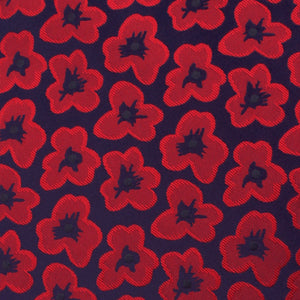 red poppy floral bow tie, fabric view