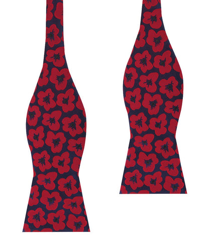 red poppy floral bow tie, untied