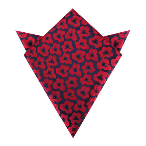 red poppy floral pocket square