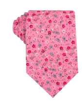 Load image into Gallery viewer, Pink Floral Necktie with Red Flowers, Front-View