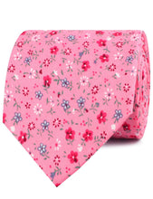 Load image into Gallery viewer, Pink Floral Necktie with Red Flowers, Rolled View