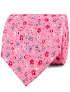 Pink Floral Necktie with Red Flowers, Rolled View