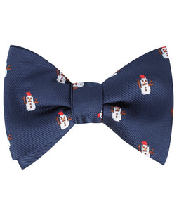 snow man self-tie bow tie tied view