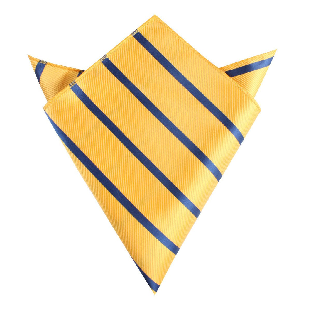 Pocket square with Yellow and Navy stripes