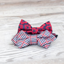 Load image into Gallery viewer, red white and blue bowtie shown on wood planks