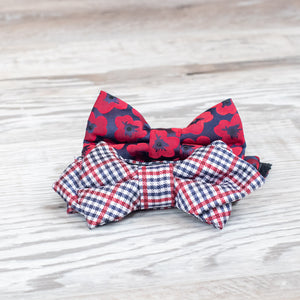 red white and blue bowtie shown on wood planks