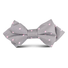Load image into Gallery viewer, Kid's silver bow tie with pink polka dots