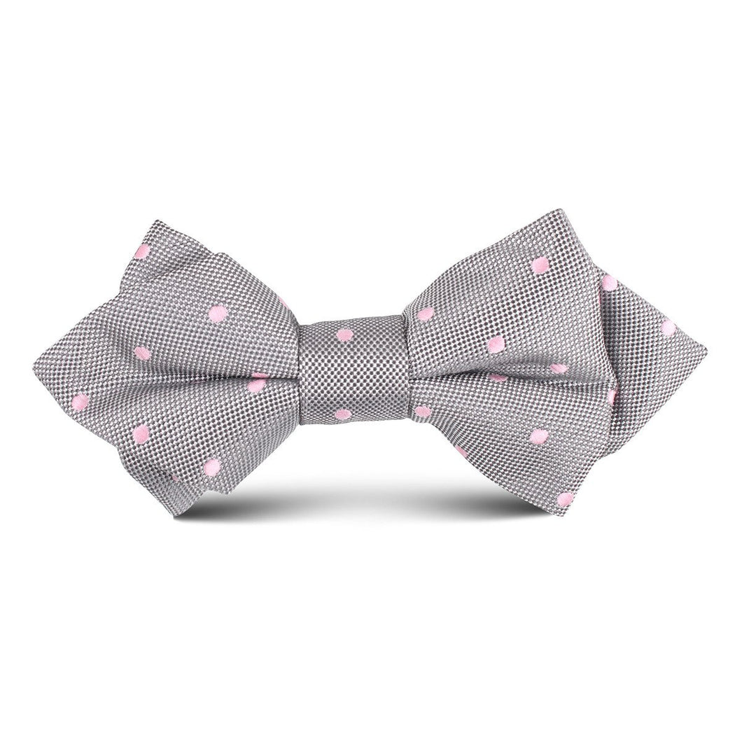 Kid's silver bow tie with pink polka dots
