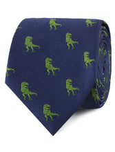 Load image into Gallery viewer, Tyrannosaurus Rex Dinosaur neck tie rolled up view