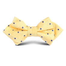 Load image into Gallery viewer, Yellow and navy polkadot kids bow tie
