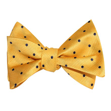 Load image into Gallery viewer, Yellow and blue polka-dot self-tie bow tie