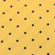 Load image into Gallery viewer, Wildcats Yellow Navy Polkadots Pocket Square Fabric