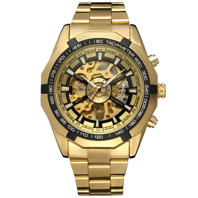 Drop shipping Men Automatic Mechanical Watch Winner Men Black Stainless Steel Watches Fashion Skeleton Steampunk Male Clocks