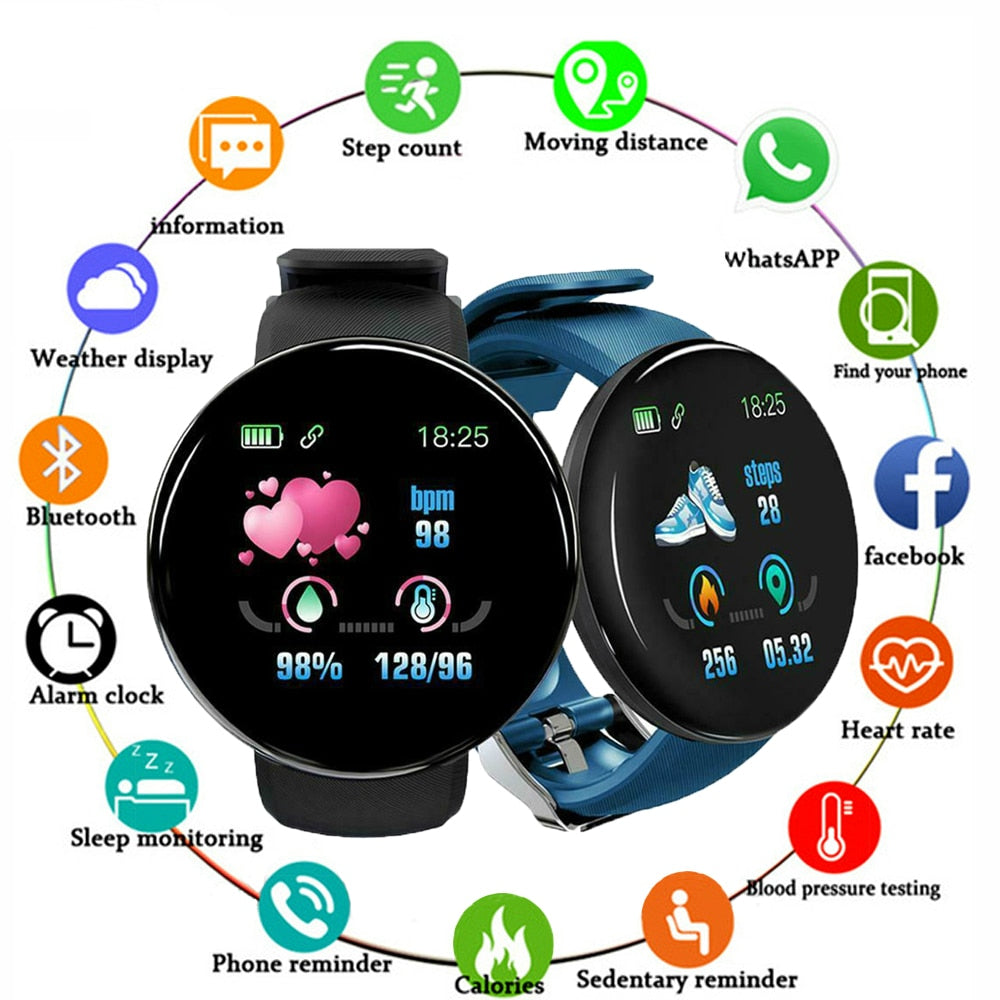 Smart Watch Men Blood Pressure Round Smartwatch
