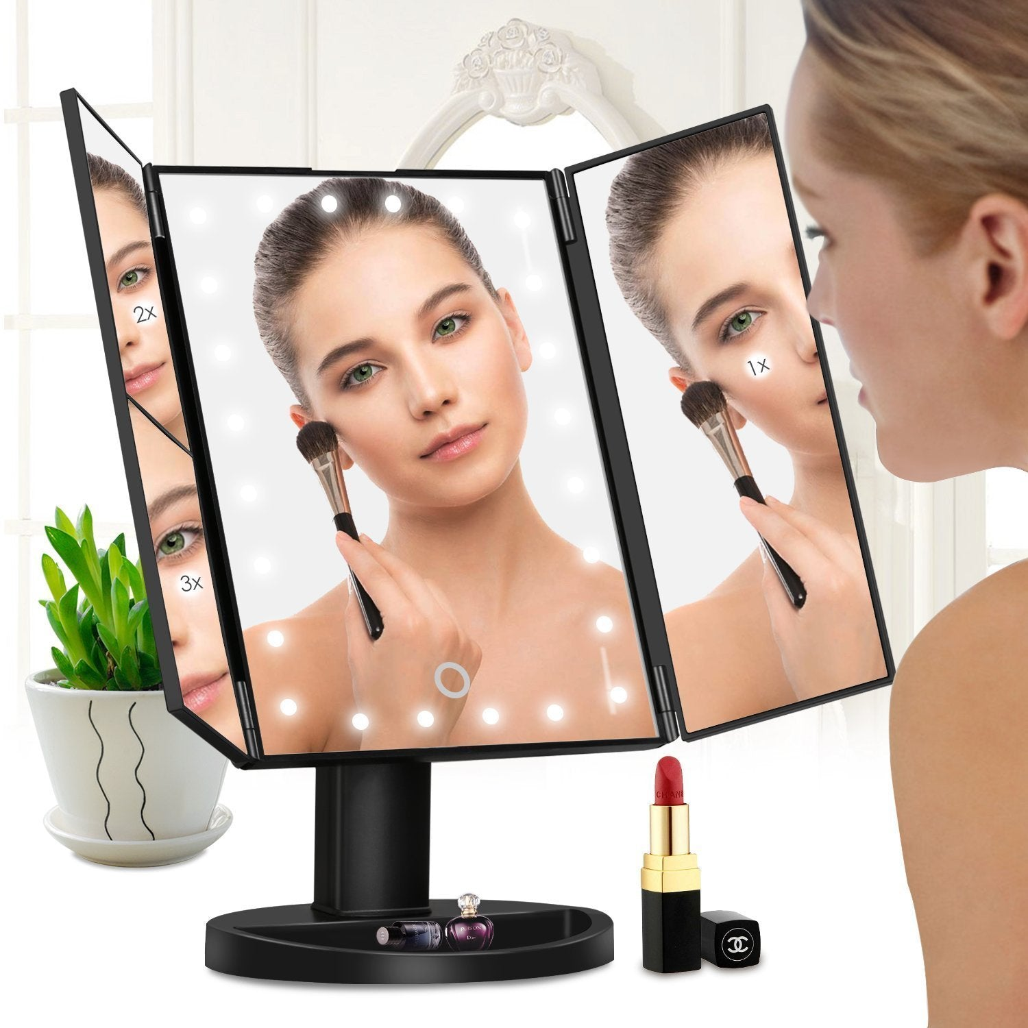 22 Led Fold Makeup Mirror (180 Degree Rotatable Countertop) - fjt-shop.store