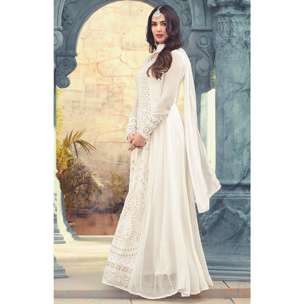 2556015598 ... Sonal Chauhan Georgette Off-White Embroidered Semi Stitched Long Anarkali  Suit