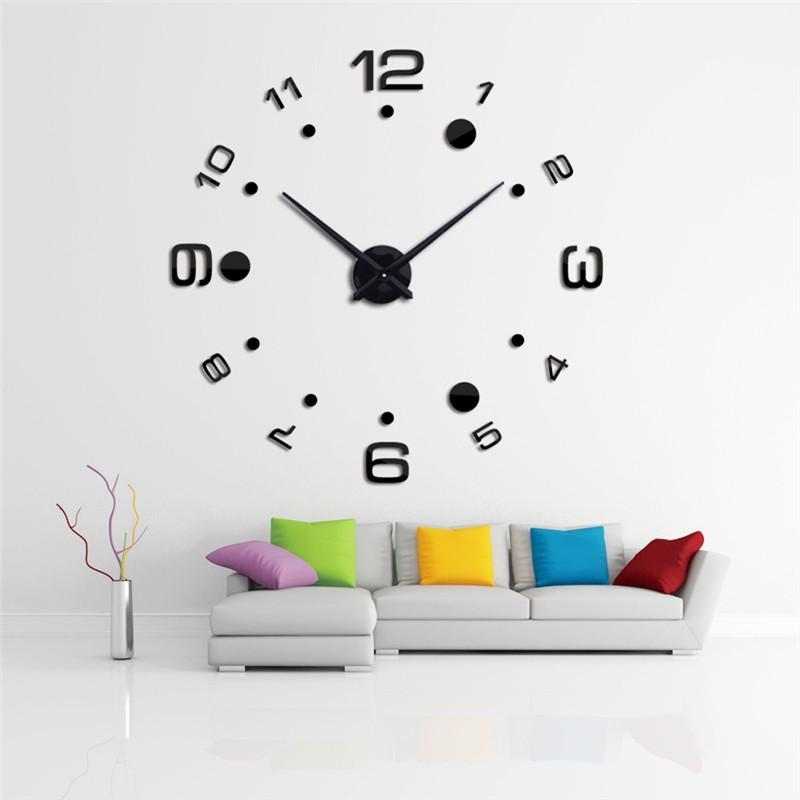 3D Modern Wall Frameless Clock Acrylic Mirror Metal Large DIY Wall Stickers Decorations