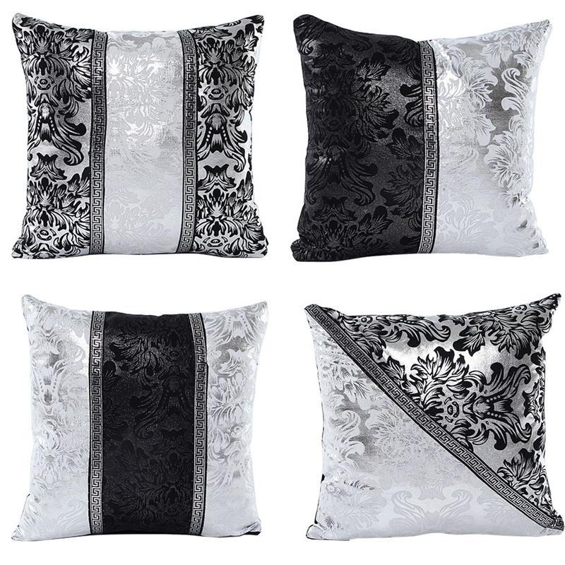 Vintage Black Silver Floral Cushion cover