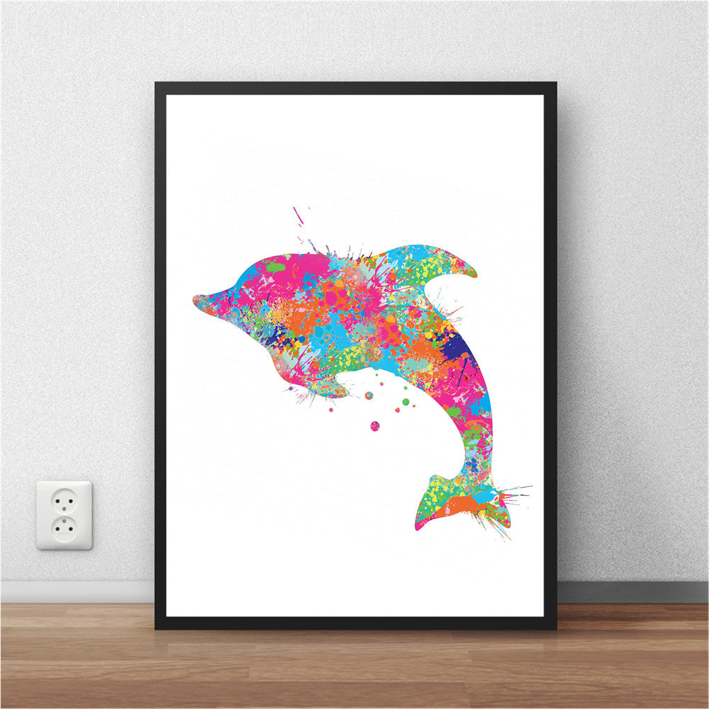 Dolphin leap Abstract Wallart  Poster NO FRAME