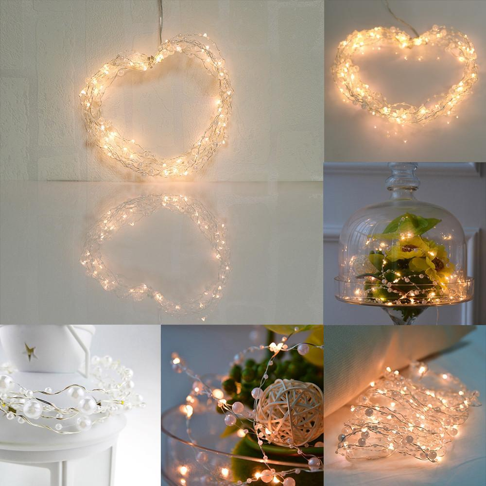 6m 60-LED Pearl Copper Wire String Light Warm White Fairy Lights
