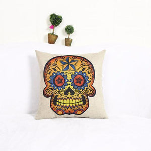 Skull Pattern Linen Throw Pillow Case Cushion Cover Home Decor