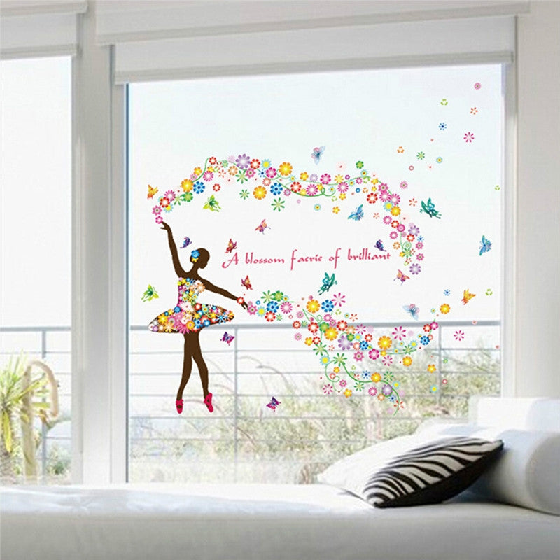Butterfly Fairy Flower Wall Sticker Room Decoration