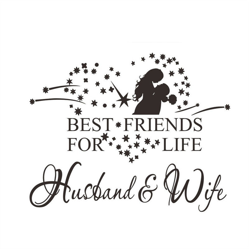 58x46cm Husband Wife Wall Art Decals for Bedroom  58x46cm