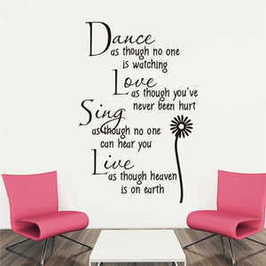 Wall Decal Dance As Though No One is Watching with Flower Removable Wall Decor Stickers