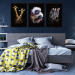 Zebra Giraffe Monkey Animals Canvas Painting Wall Decor NO FRAME