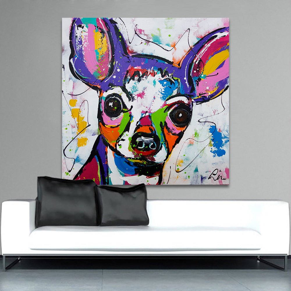 Modern Abstract Chihuahua Dog Canvas NO FRAME