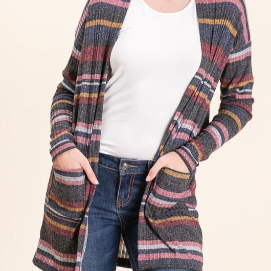Multi Striped Ribbed Knit Cardi
