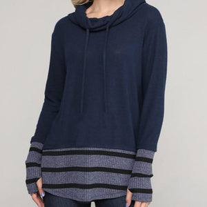 Navy Cowl Neck w/Striped Accents & Thumbholes