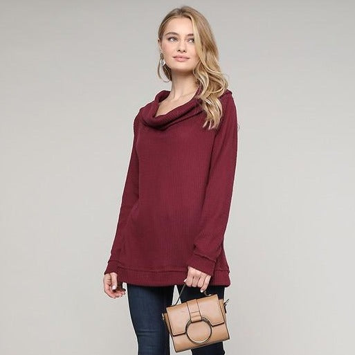 Waffle Knit Cowl Neck Top - Ruby