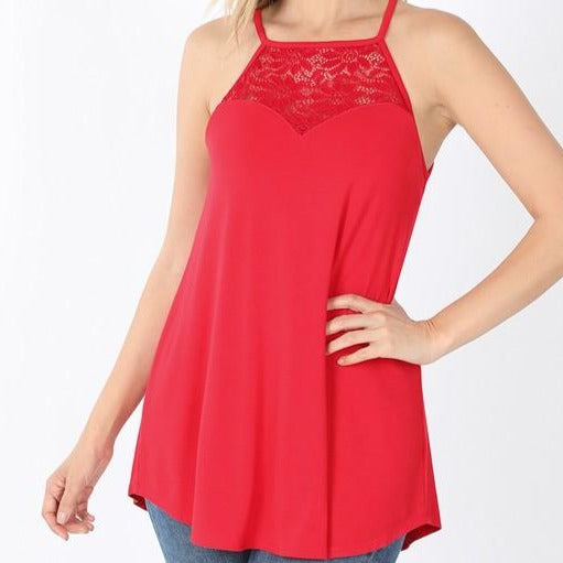 1XL ONLY Lace Halter Tank - Ruby