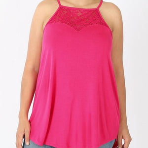 Lace Halter Tank - Hot Pink