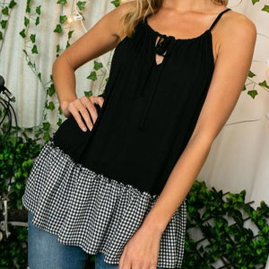 Checkered Ruffle Tie Front Tunic