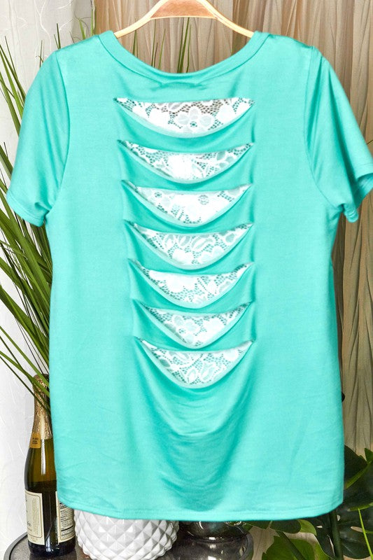 Lace Cut Top - TWO COLORS