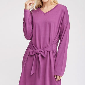 Long Sleeve Tie Front French Terry Dress - Plum